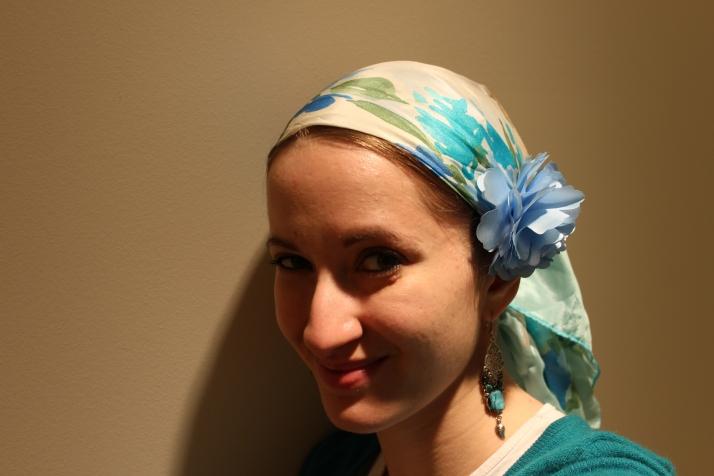 tichel scarf flower silk hair head wrap