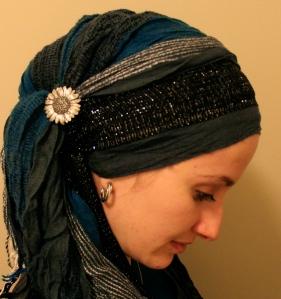 teal sunflower wrapunzel head scarf