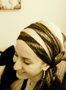 scarf head wrap tichel pin layered