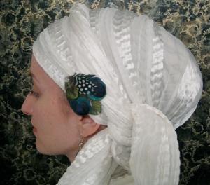 wrapunzel white shabbat head scarf