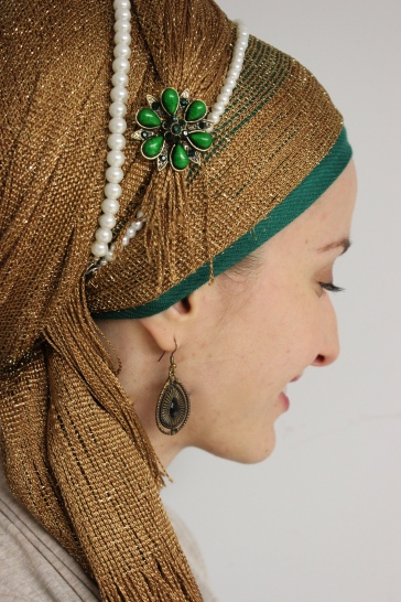 Gold green pearls wrapunzel andrea grinberg