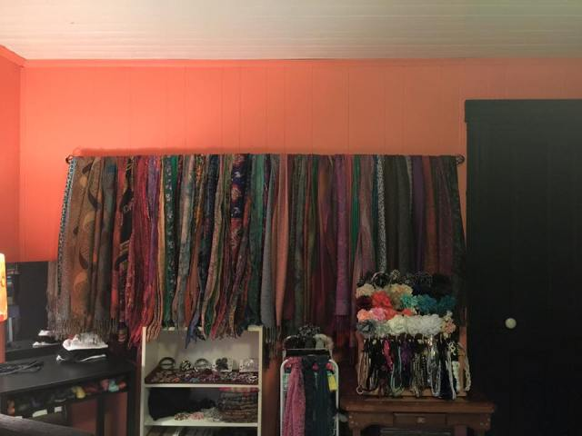 An Overview of all the prettiness!  Those are pashminas and other heavier weight long scarves (like saris) on the bar