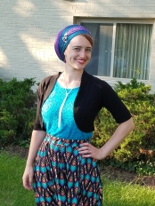 Bright colors are the best way to beat the Monday blues! This shirt is one of my most worn, and this skirt gives me the ability to pull so many colors! (Wrap: 2-scarf regal with a pin)