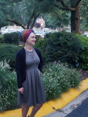 Sometimes I love to pair a neutral color with a bold scarf and accessories! (Wrap: turban with a signature)